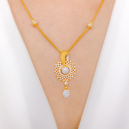 Stylish Matte Accented CZ Necklace Set