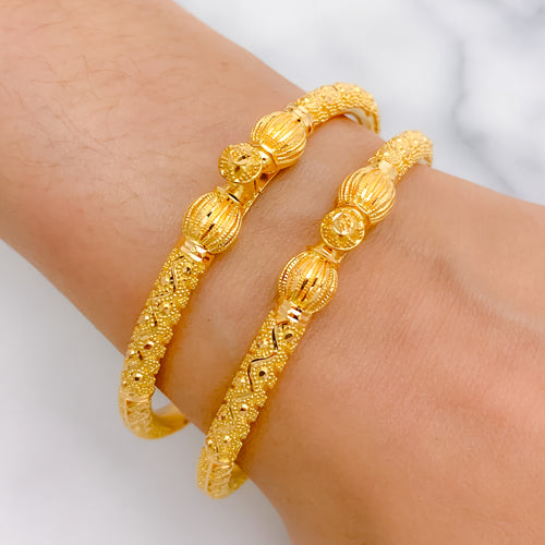Melon Style Pipe Bangle Pair