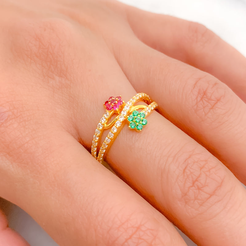 Green & Red CZ Cluster Ring