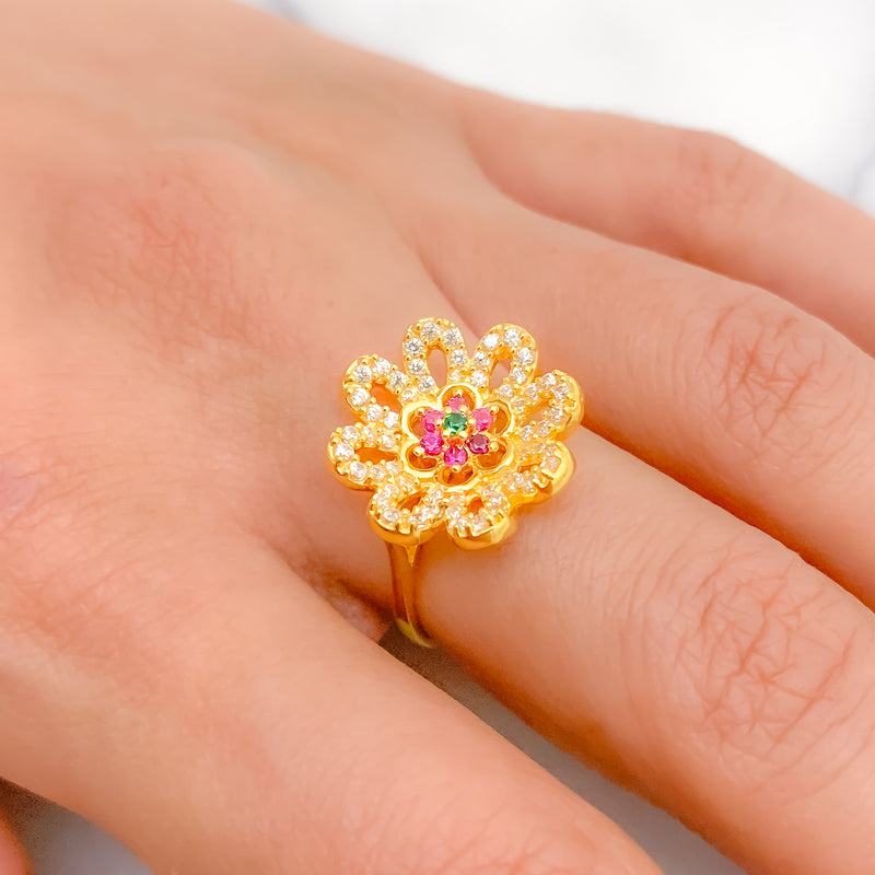 Beautiful Curved Flower Ring