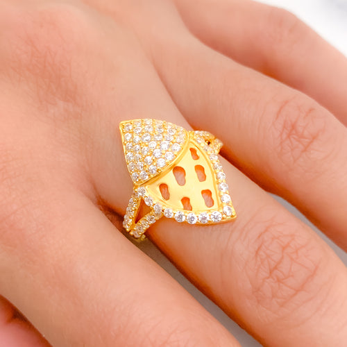 Ornate Matte Finish CZ Ring