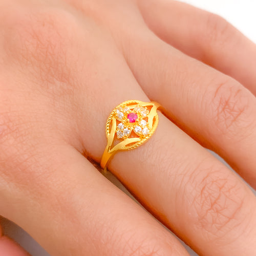 Four Petal CZ Ring