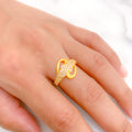 Stylish Matte Finish CZ Ring
