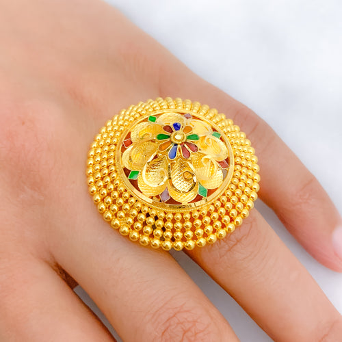 Striking Meenakari Flower Ring