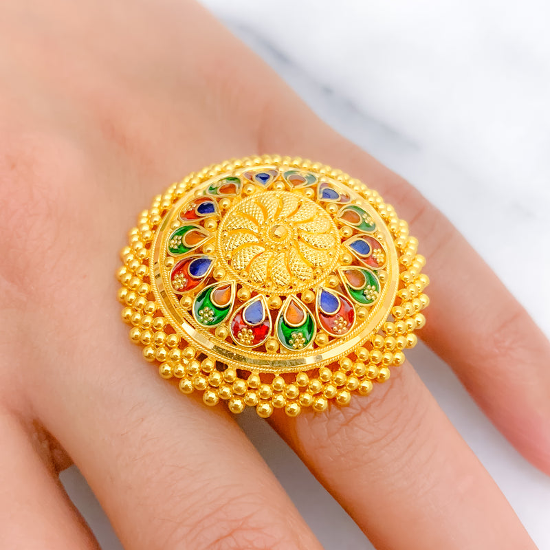 Grand Enameled Dome Ring