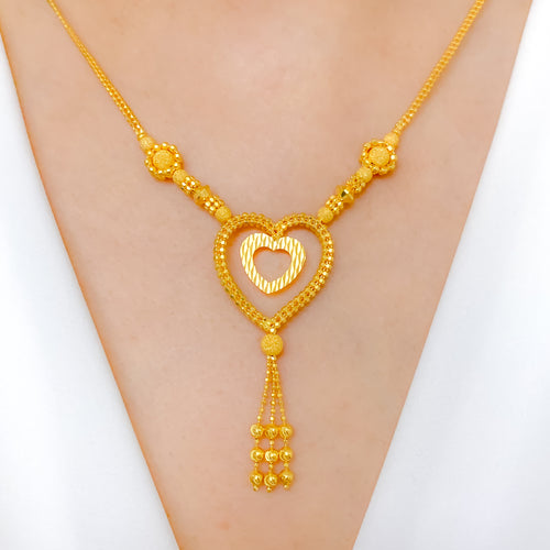 Halo Dual Heart Necklace Set