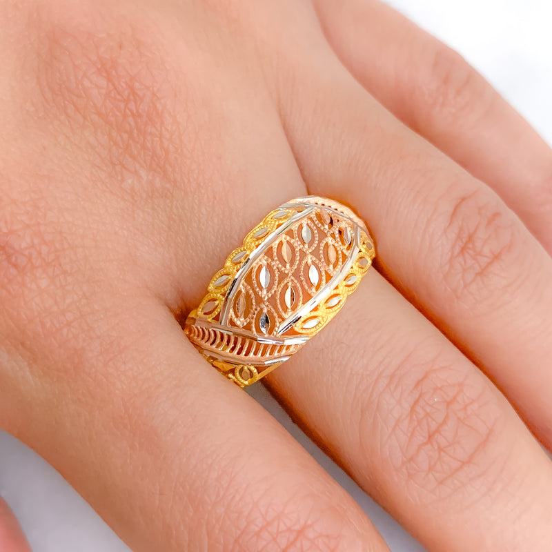 Modern Three-Tone Floral Ring