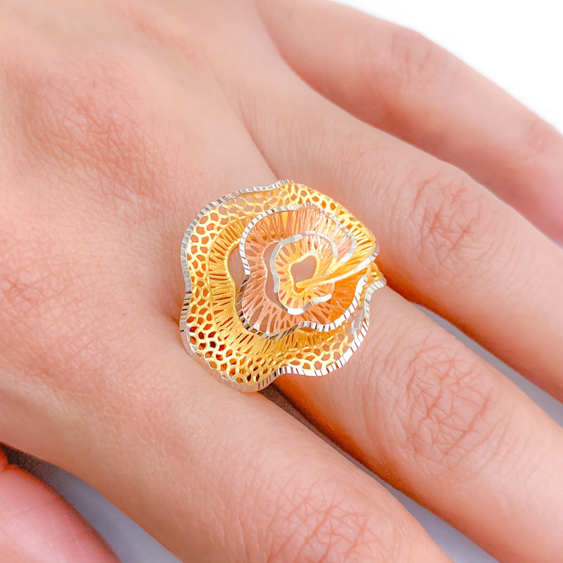 Contemporary Three-Tone Rose Ring