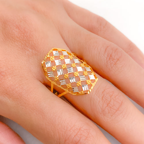Checkered Lightweight Two-Tone Ring