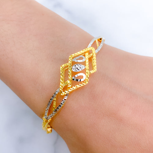 Unique Patterned Two-Tone Bangle Bracelet