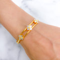 Playful Sliding Flower Bangle Bracelet