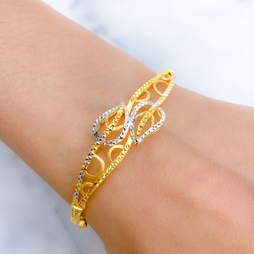 Lovely Two Leaf Bangle Bracelet