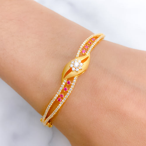 Lightweight Matte Finish CZ Bangle Bracelet