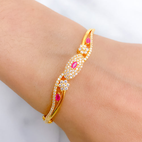 Stylish Red Accented CZ Bangle Bracelet