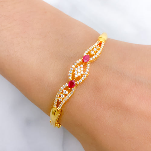 Classic Patterned CZ Bangle Bracelet