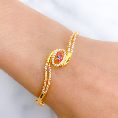 Dressy Oval CZ Bangle Bracelet