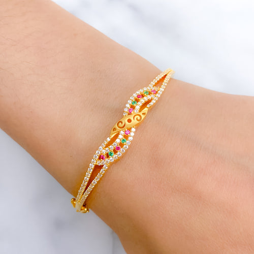 Charming Red & Green CZ Bangle Bracelet