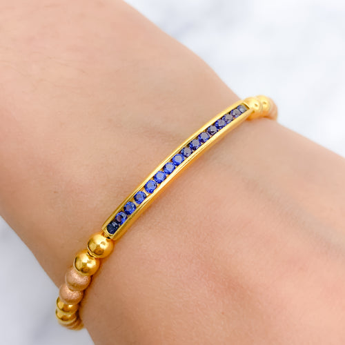 Blue Accent Bangle Bracelet