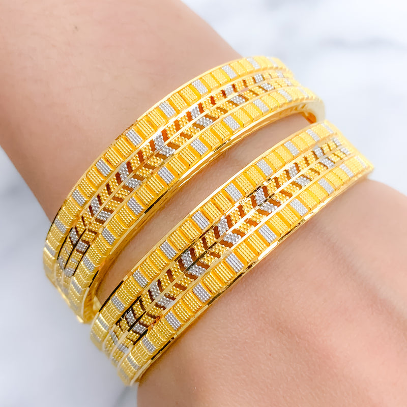 Alternating Two-Tone Bangle Pair