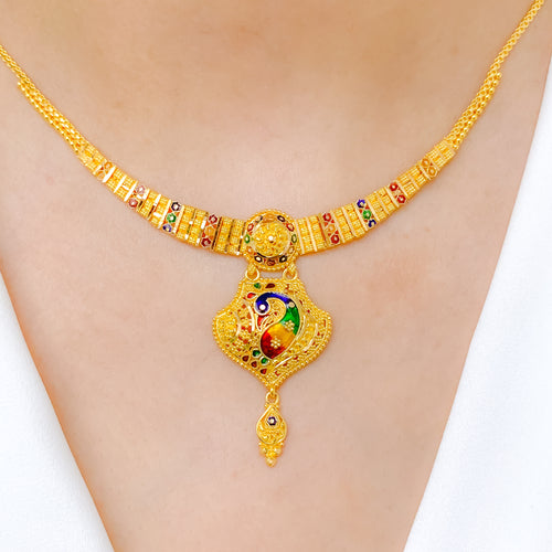 Enameled Traditional Peacock Necklace Set