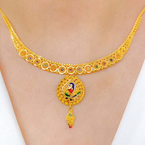 Delightful Peacock Necklace Set