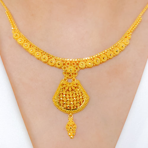 Graceful Hanging Gold Necklace Set