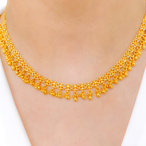 Elegant Hanging Two-Tone Necklace Set