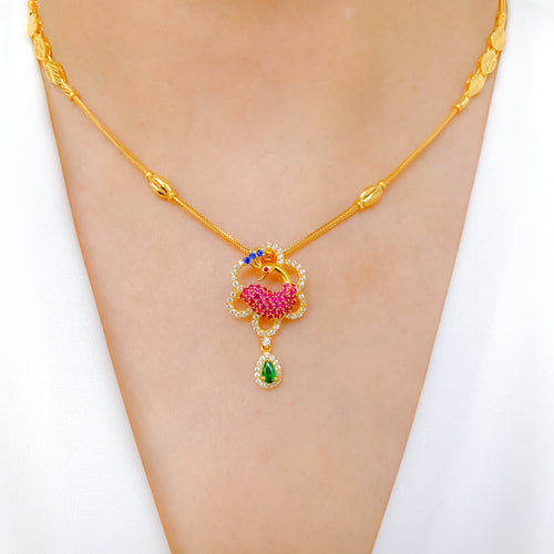 Lovely Peacock CZ Necklace Set