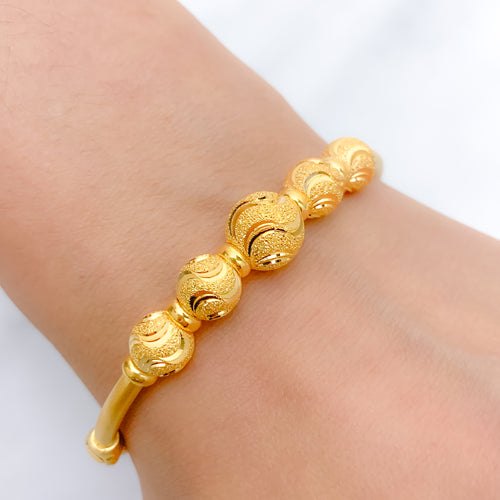 Elegant Wave 5 Orb Bangle Bracelet
