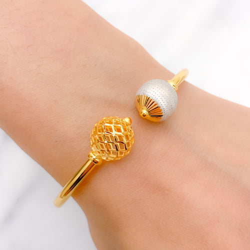 Modern Orb Cut Bangle Bracelet