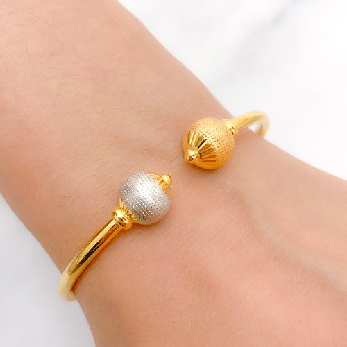 Graceful Brushed Finished Orb Bangle Bracelet