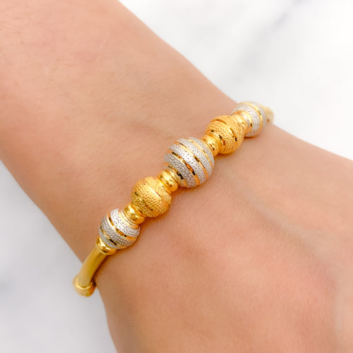 Alternating Two-Tone Bangle Bracelet