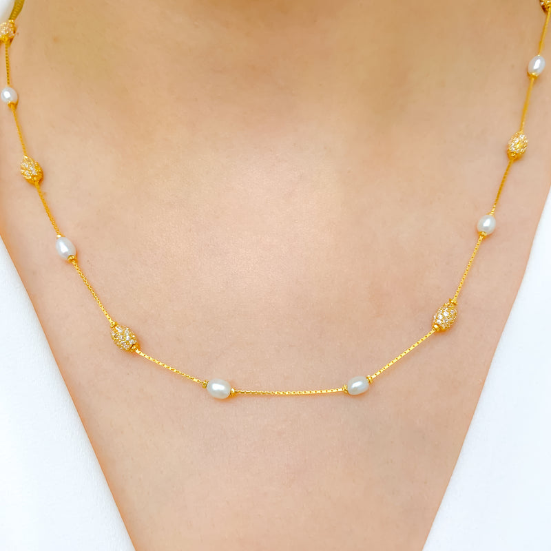 Classic Pearl & CZ Necklace