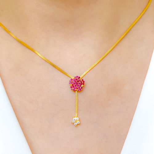 Red Floral Accent CZ Necklace