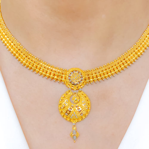 Ornate Two-Tone Necklace Set