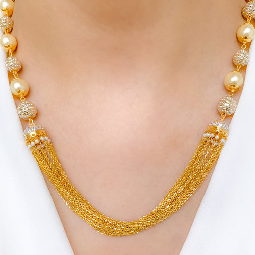 Striking CZ & Pearl Chain Necklace Set