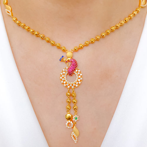 Beautiful Chand Style Peacock Necklace Set