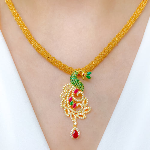 Lovely Peacock Necklace Set