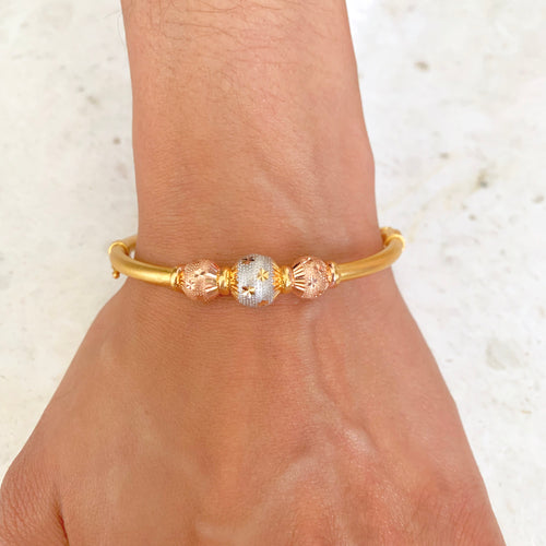 Stylish Three-Tone Bangle Bracelet