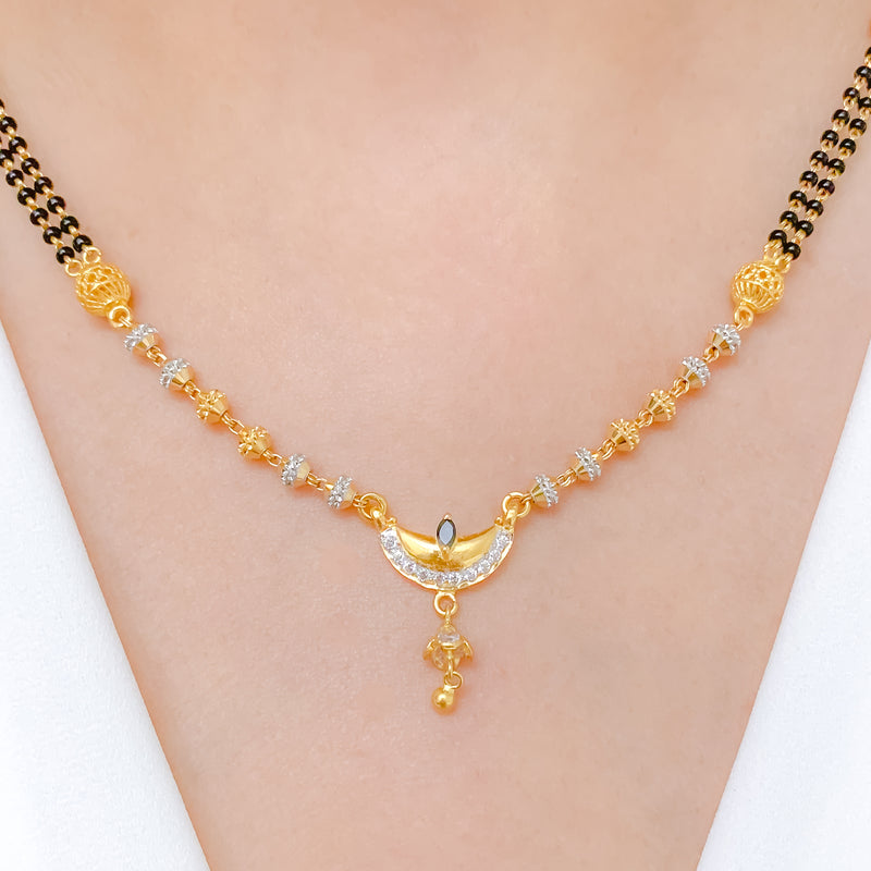 Stylish Dual Chain + CZ Pendant Drop Necklace