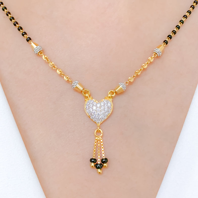Charming CZ Heart + Tassel Necklace