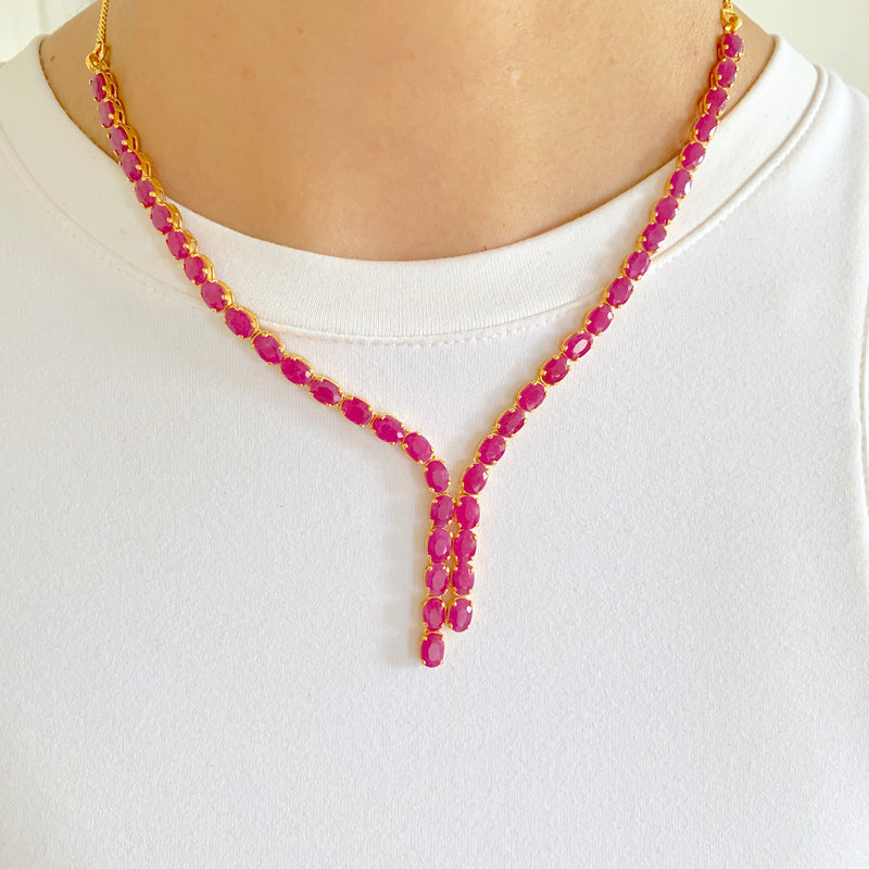 Modern ruby necklace set