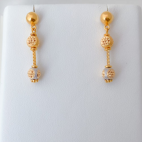 Simple Two-Tone Drop Earrings