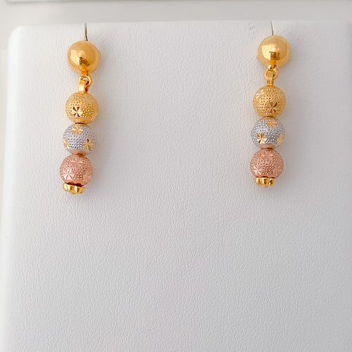 Three-tone bead Earrings