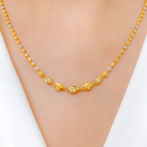 Glittering Two-Tone Necklace Set