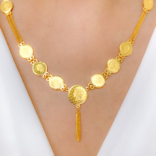 Grandeur Coins & Tassel Necklace Set