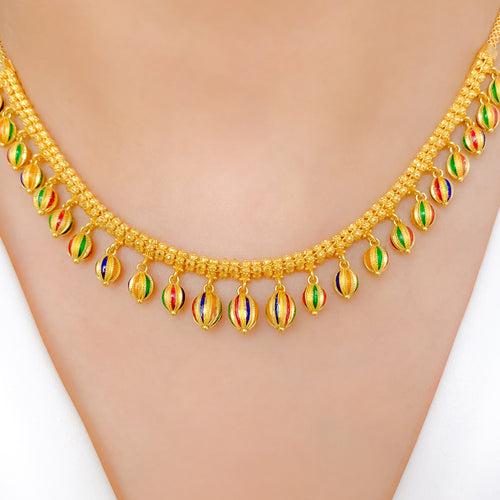 Dressy Enamel Melon Necklace Set