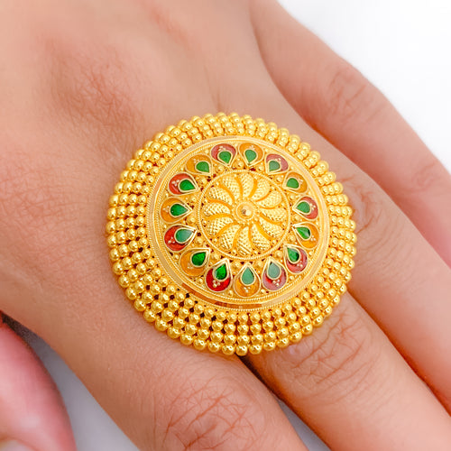 Traditional Meena Statement Ring