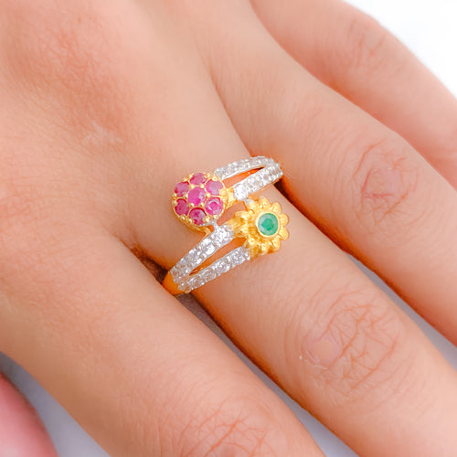 Traditional Dual Accent Stone Ring