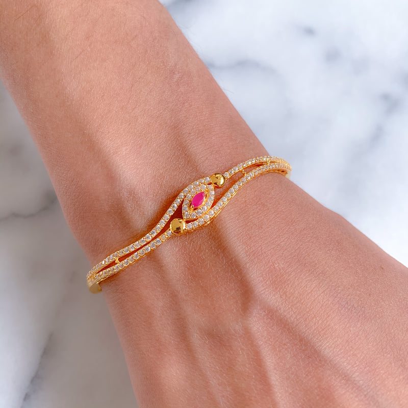 Ruby Accent Bangle Bracelet
